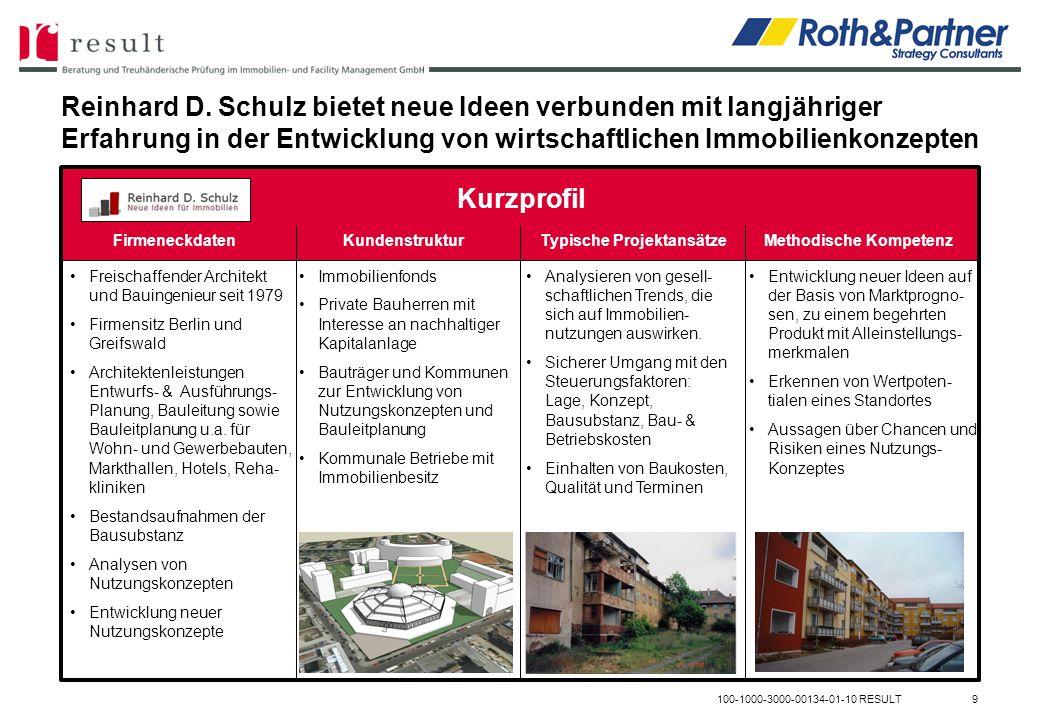 Reinhard D. Schulz bietet neue Ideen verbunden mit langjähriger Erfahrung in der Entwicklung von wirtschaftlichen Immobilienkonzepten