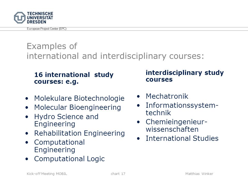 Examples of international and interdisciplinary courses: