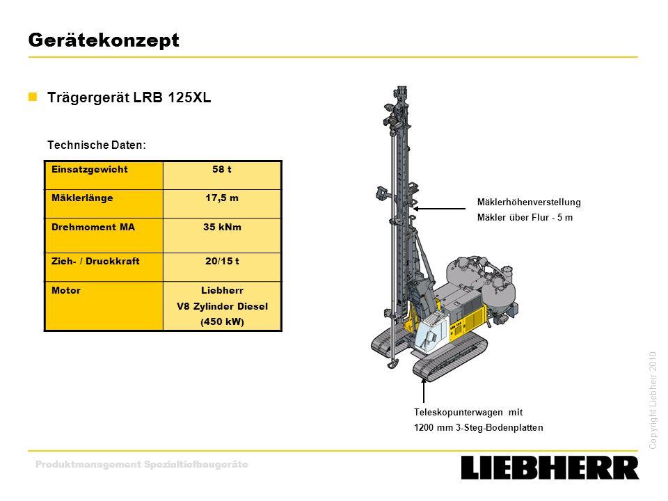 Gerätekonzept Trägergerät LRB 125XL Technische Daten: Einsatzgewicht