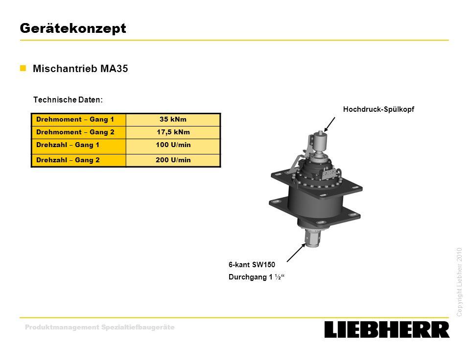 Gerätekonzept Mischantrieb MA35 Technische Daten: Hochdruck-Spülkopf