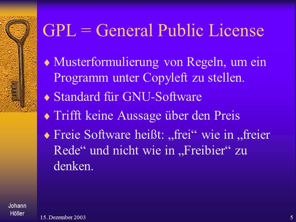 GPL = General Public License