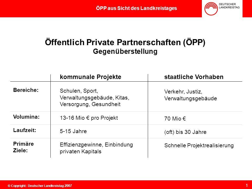 """ÖPP aus Sicht des Landkreistages Kommunale """"Ausgangslage für ÖPP"""