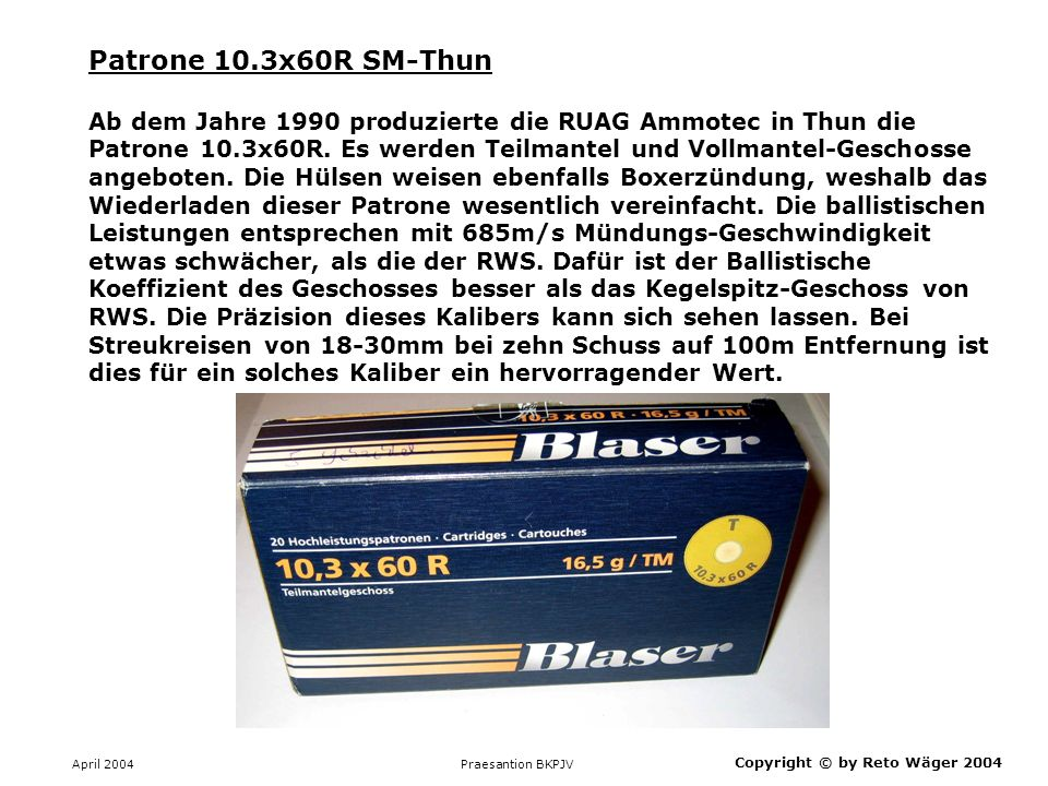 Patrone 10.3x60R SM-Thun