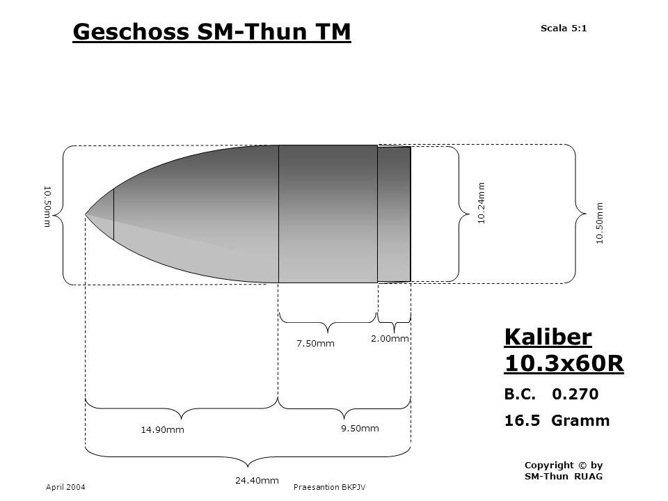 Geschoss SM-Thun TM Kaliber 10.3x60R B.C. 0.270 16.5 Gramm