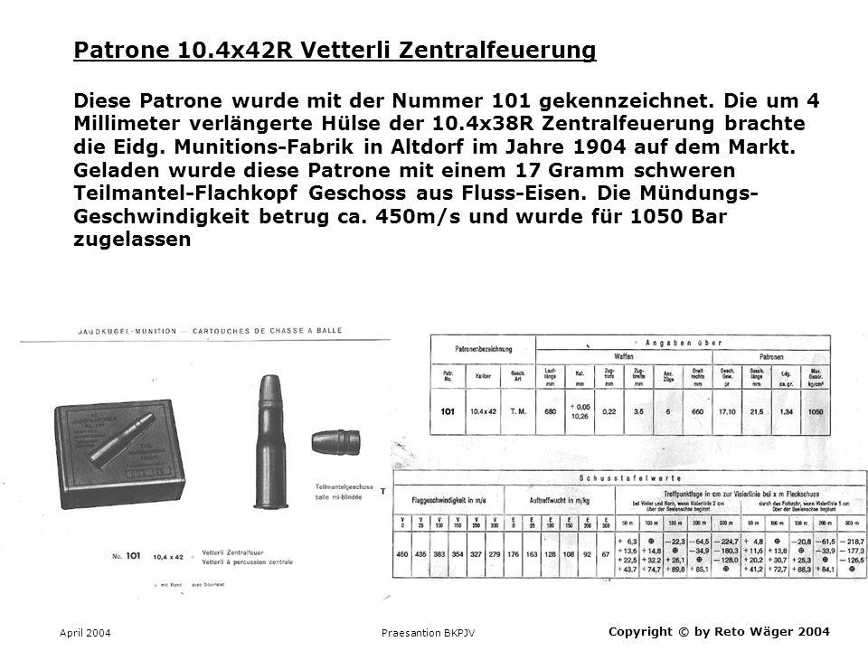 Patrone 10.4x42R Vetterli Zentralfeuerung