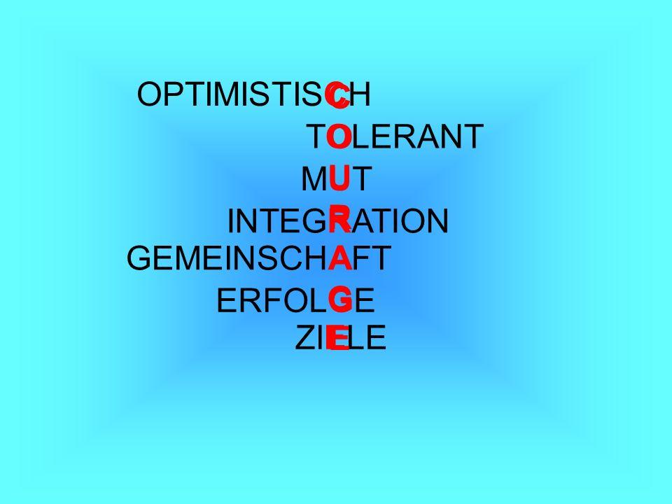 OPTIMISTISCH C O U R A G E TOLERANT MUT INTEGRATION GEMEINSCHAFT ERFOLGE ZIELE