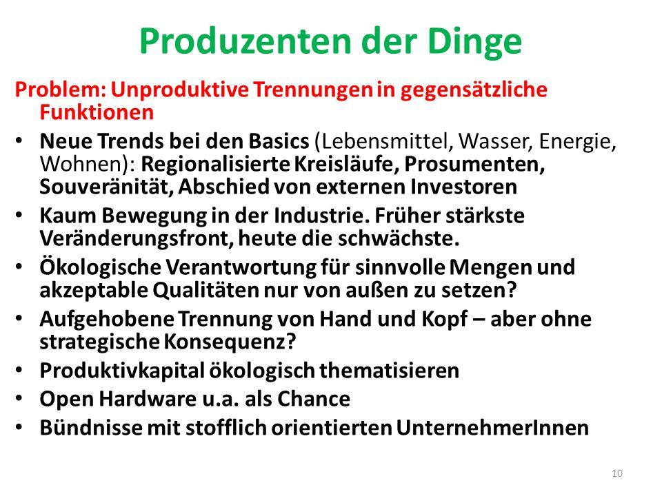 Produzenten der Dinge Problem: Unproduktive Trennungen in gegensätzliche Funktionen.