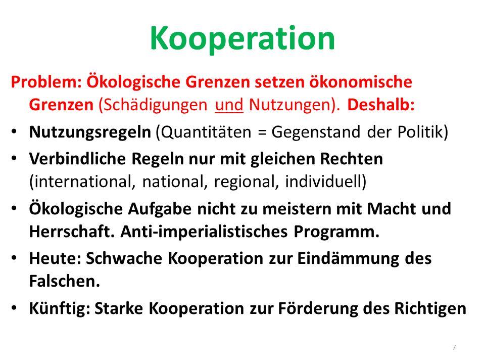 Kooperation Problem: Ökologische Grenzen setzen ökonomische Grenzen (Schädigungen und Nutzungen). Deshalb: