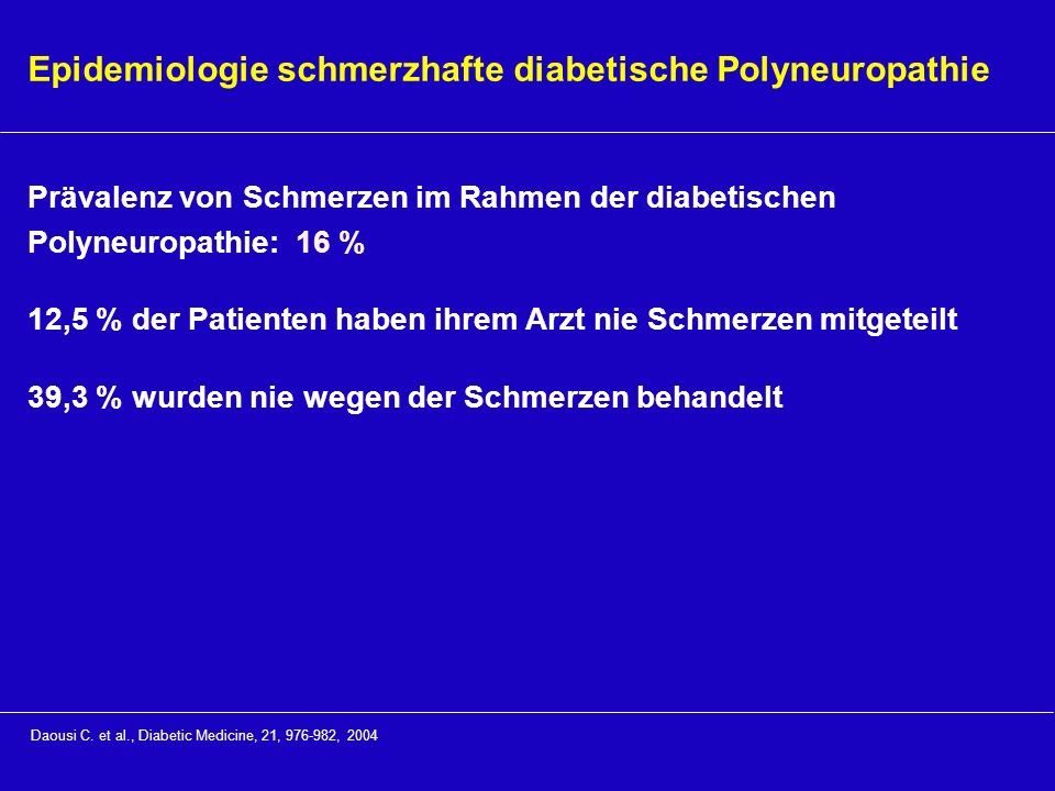Epidemiologie schmerzhafte diabetische Polyneuropathie
