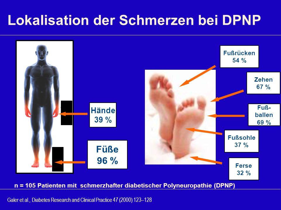 Lokalisation der Schmerzen bei DPNP