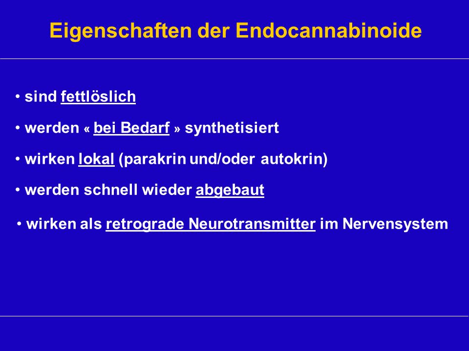 Eigenschaften der Endocannabinoide