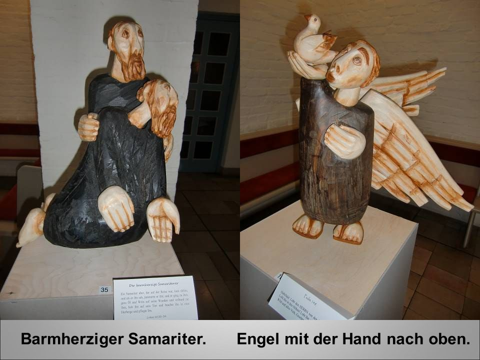 Barmherziger Samariter. Engel mit der Hand nach oben.