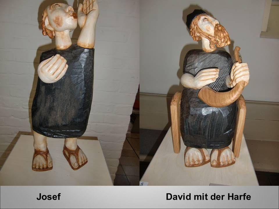 Josef David mit der Harfe