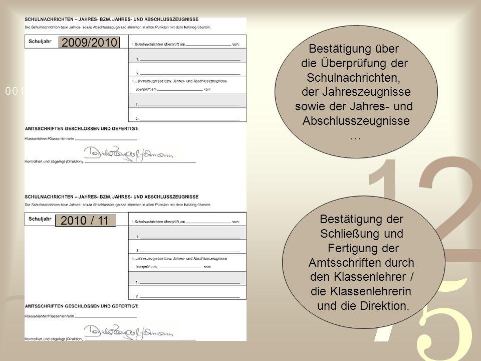 Bestätigung über die Überprüfung der. Schulnachrichten, der Jahreszeugnisse. sowie der Jahres- und.