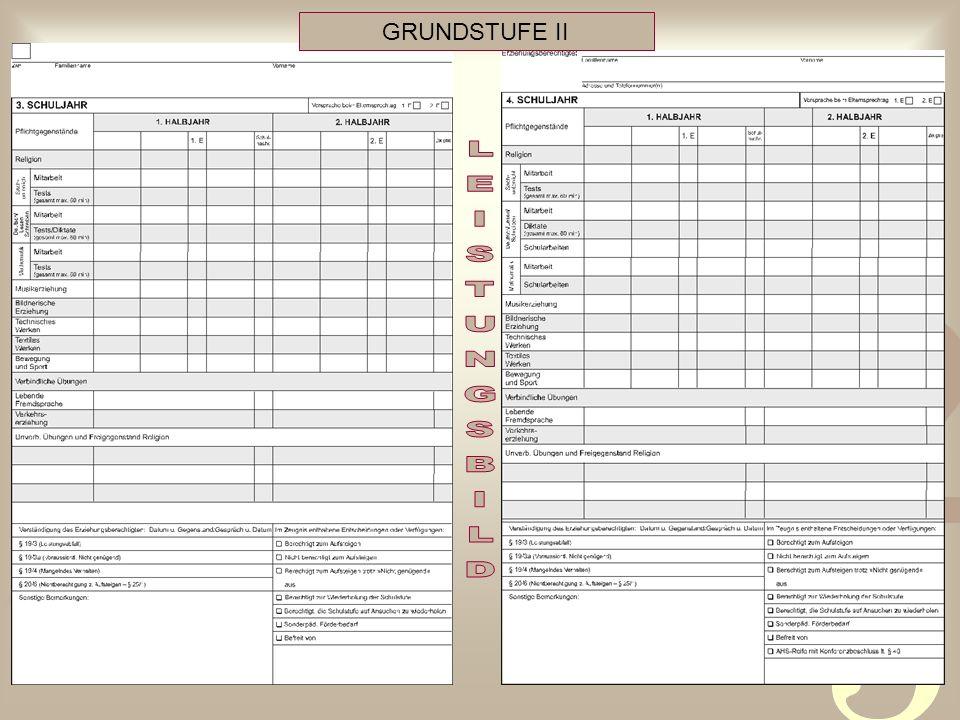 GRUNDSTUFE II LEISTUNGSBILD