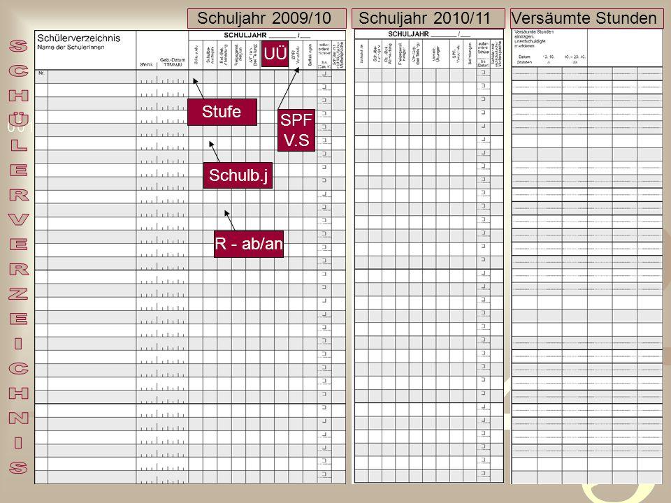 SCHÜLERVERZEICHNIS Schuljahr 2009/10 Schuljahr 2010/11