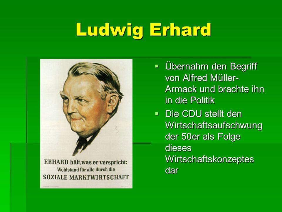Ludwig Erhard Übernahm den Begriff von Alfred Müller-Armack und brachte ihn in die Politik.