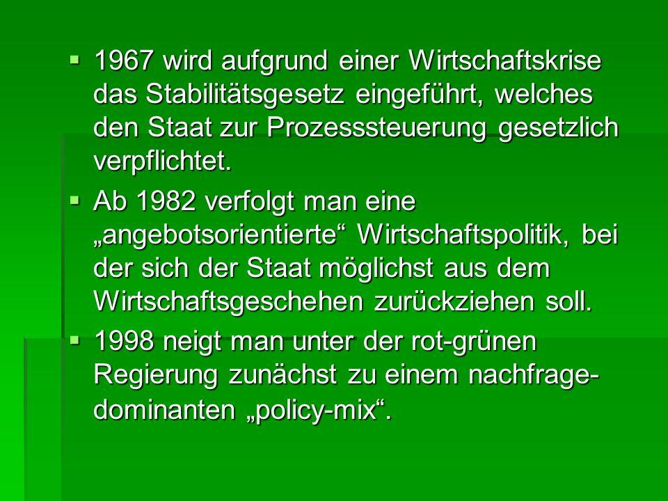 1967 wird aufgrund einer Wirtschaftskrise das Stabilitätsgesetz eingeführt, welches den Staat zur Prozesssteuerung gesetzlich verpflichtet.