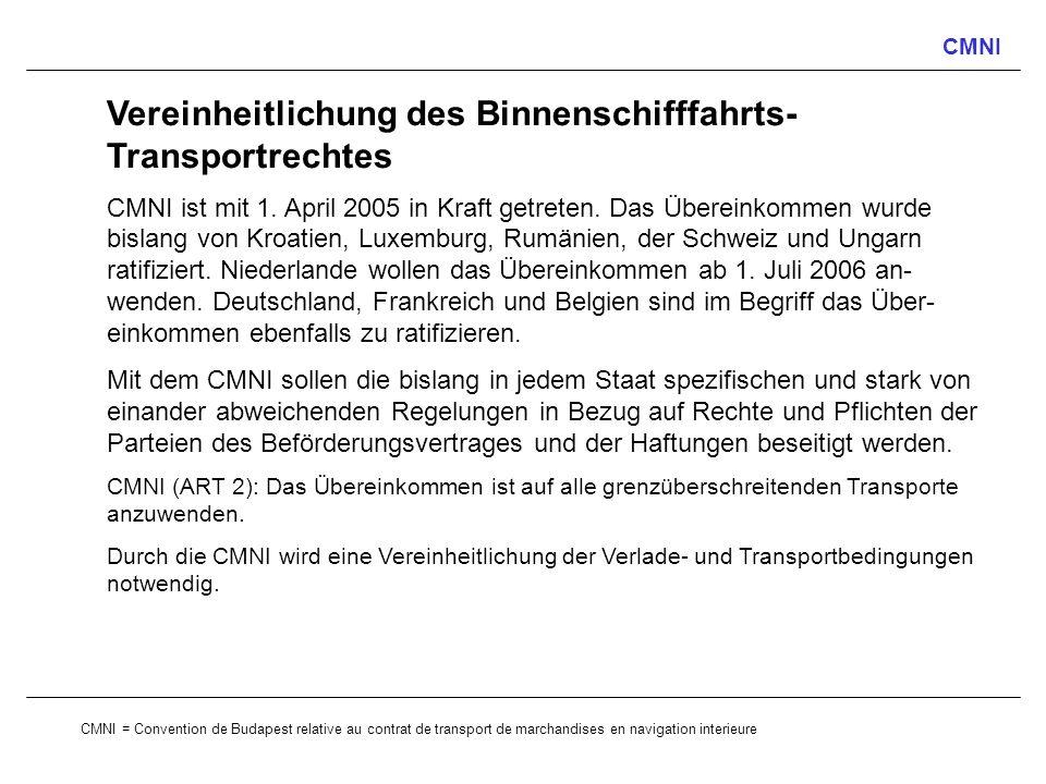 Vereinheitlichung des Binnenschifffahrts-Transportrechtes