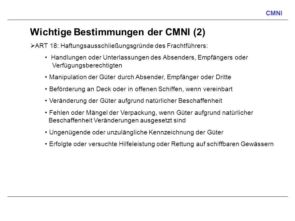 Wichtige Bestimmungen der CMNI (2)