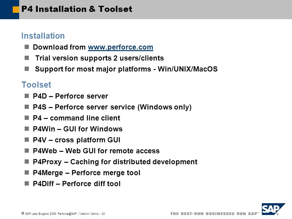 P4 Installation & Toolset