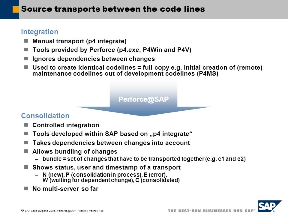 Source transports between the code lines