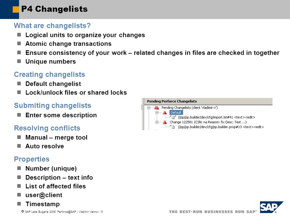P4 Changelists What are changelists Creating changelists