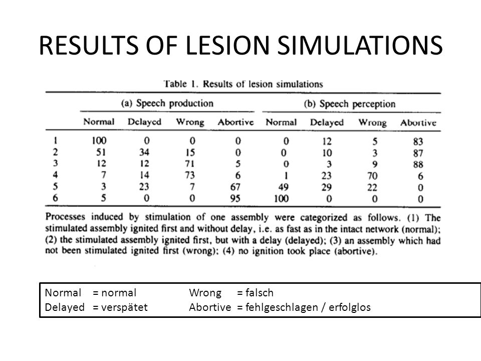 RESULTS OF LESION SIMULATIONS
