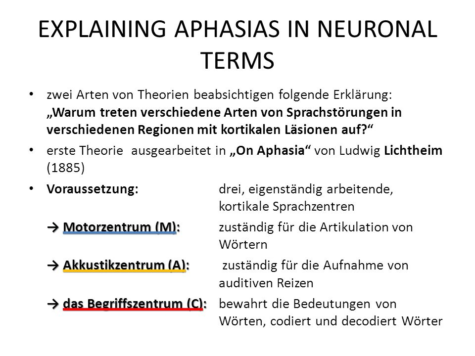 EXPLAINING APHASIAS IN NEURONAL TERMS
