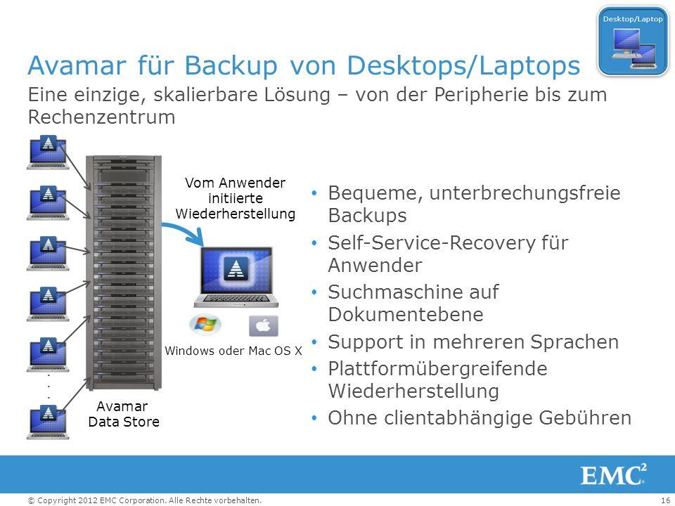 Avamar für Backup von Desktops/Laptops
