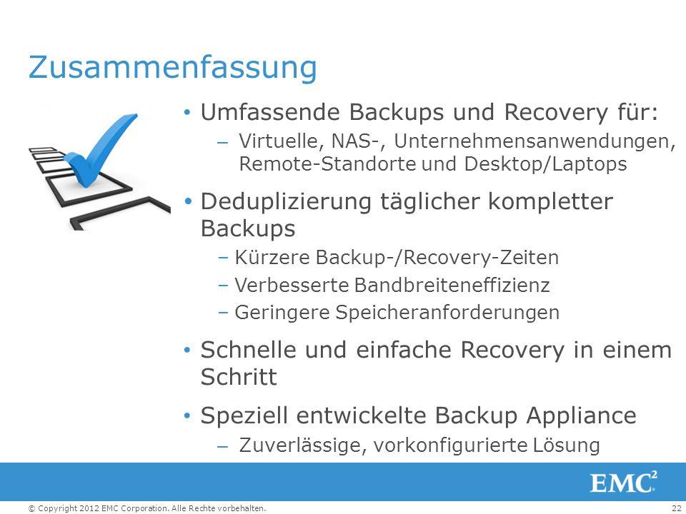 Zusammenfassung Umfassende Backups und Recovery für: