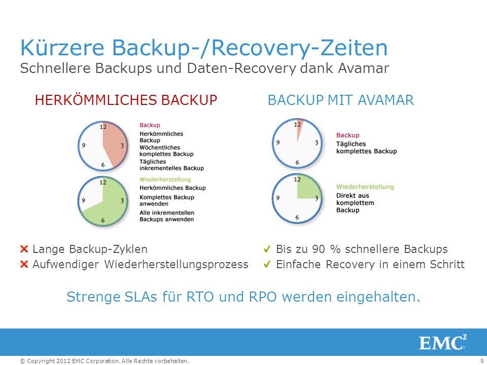 Kürzere Backup-/Recovery-Zeiten