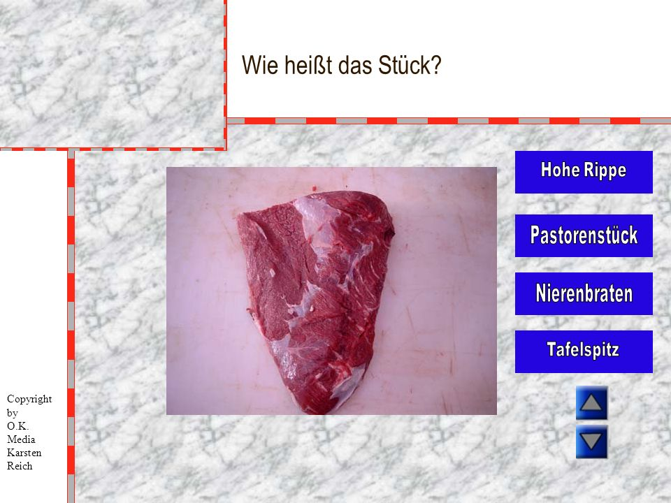Wie heißt das Stück Hohe Rippe Pastorenstück Nierenbraten Tafelspitz