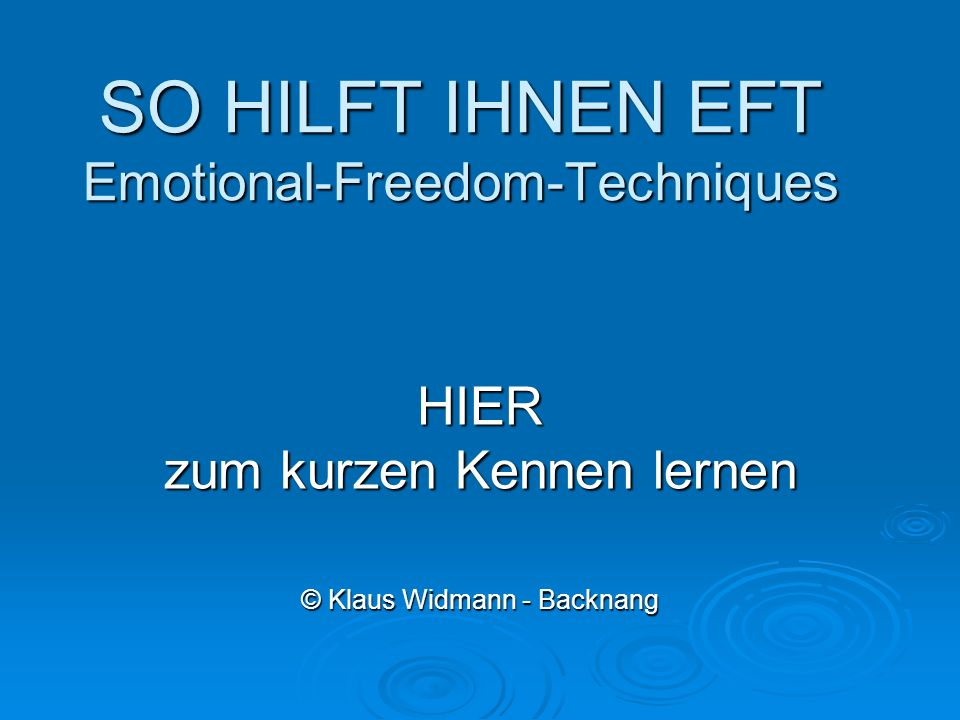 SO HILFT IHNEN EFT Emotional-Freedom-Techniques