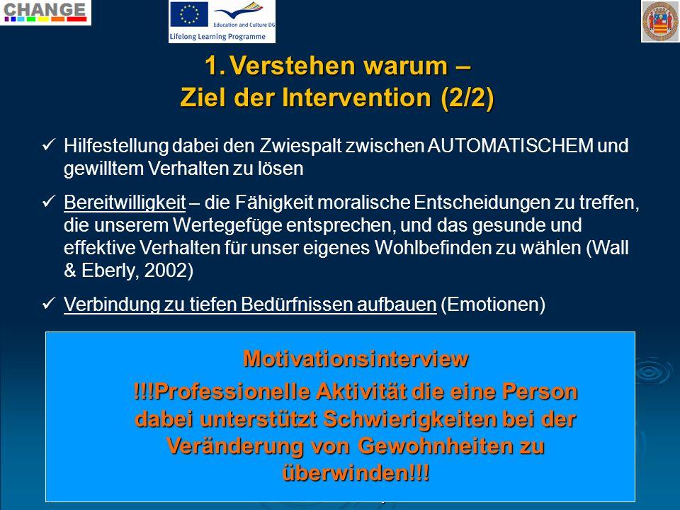 Ziel der Intervention (2/2) Motivationsinterview