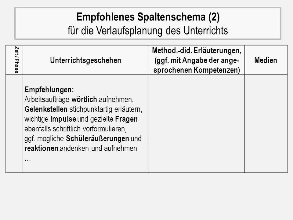 Empfohlenes Spaltenschema (2) für die Verlaufsplanung des Unterrichts