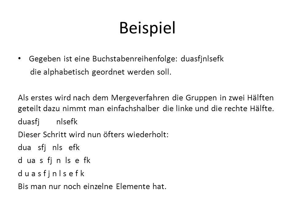 Beispiel Gegeben ist eine Buchstabenreihenfolge: duasfjnlsefk