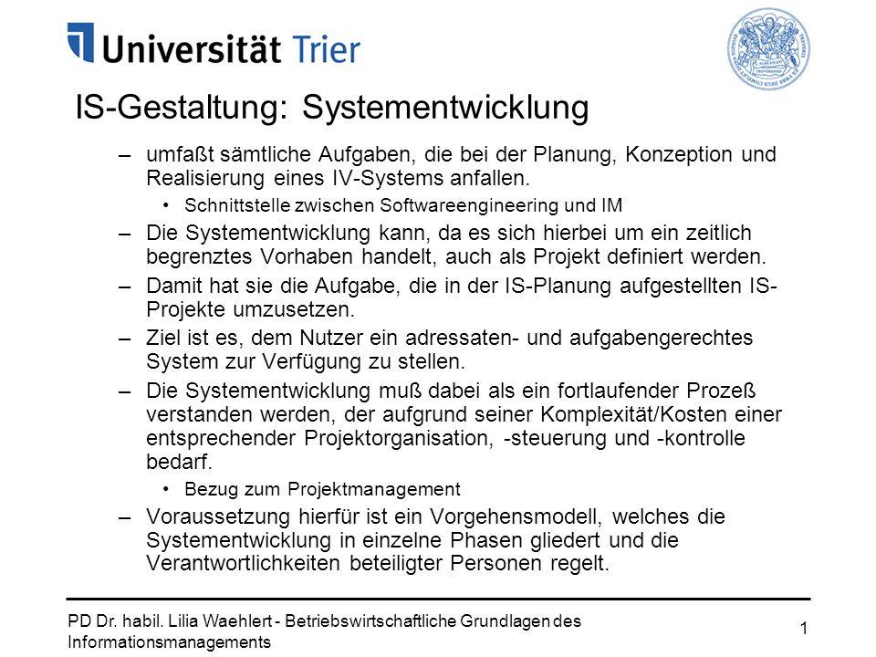 IS-Gestaltung: Systementwicklung