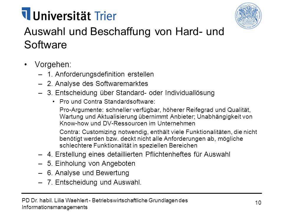 Auswahl und Beschaffung von Hard- und Software