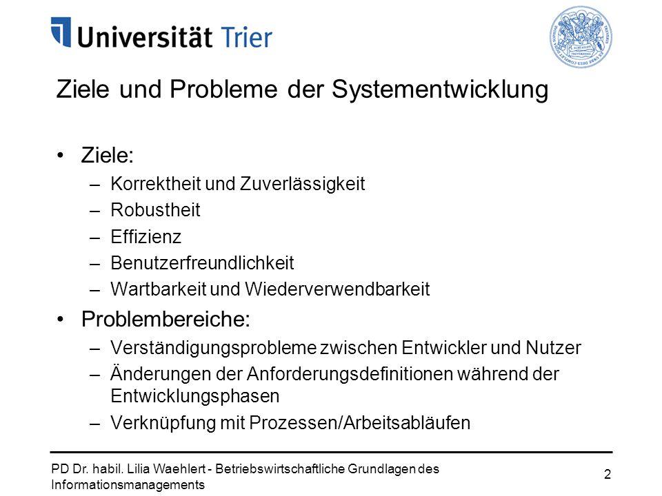 Ziele und Probleme der Systementwicklung