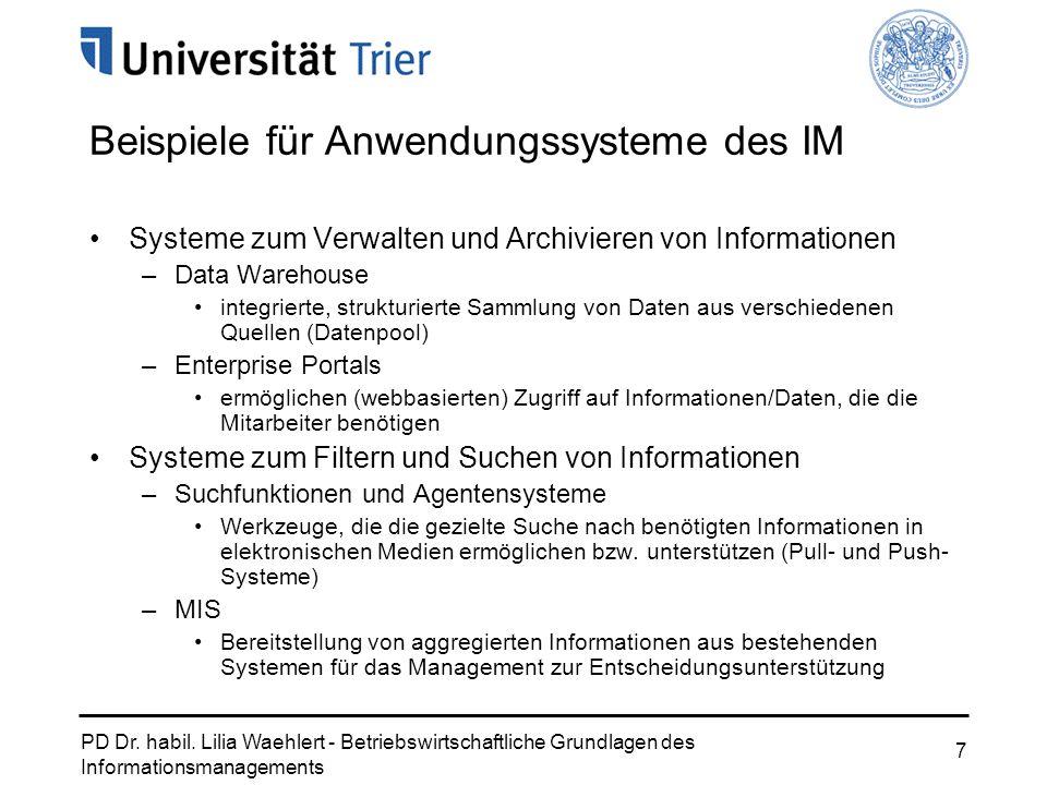 Beispiele für Anwendungssysteme des IM