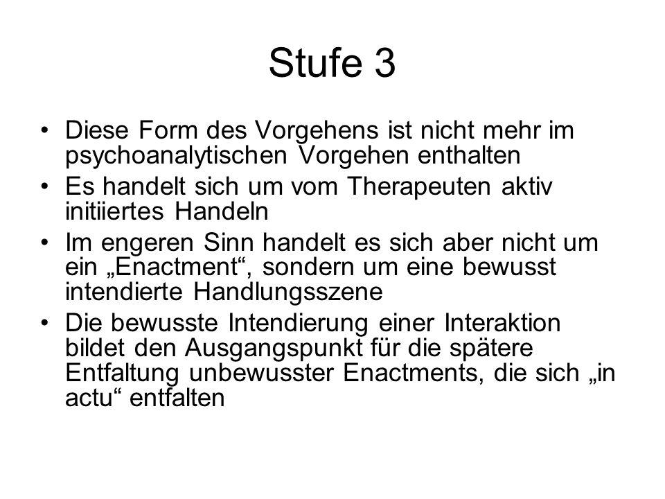 Stufe 3 Diese Form des Vorgehens ist nicht mehr im psychoanalytischen Vorgehen enthalten.