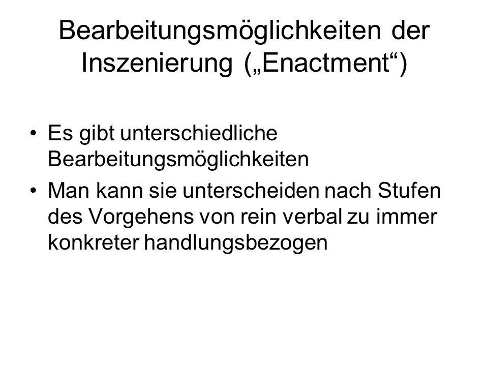 """Bearbeitungsmöglichkeiten der Inszenierung (""""Enactment )"""