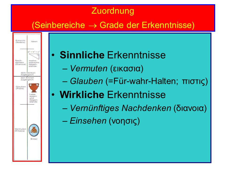 Zuordnung (Seinbereiche  Grade der Erkenntnisse)