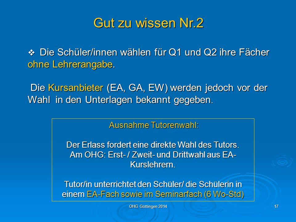 Gut zu wissen Nr.2 Die Schüler/innen wählen für Q1 und Q2 ihre Fächer ohne Lehrerangabe.