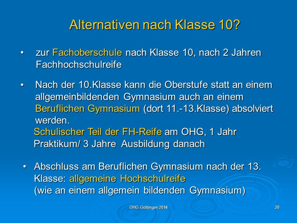 Alternativen nach Klasse 10