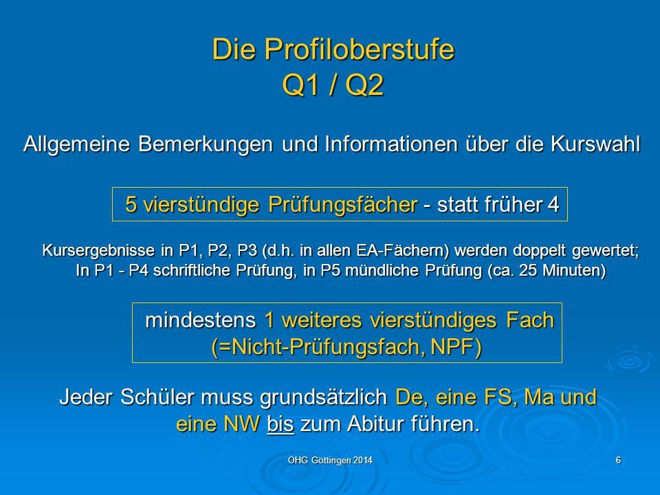 Die Profiloberstufe Q1 / Q2