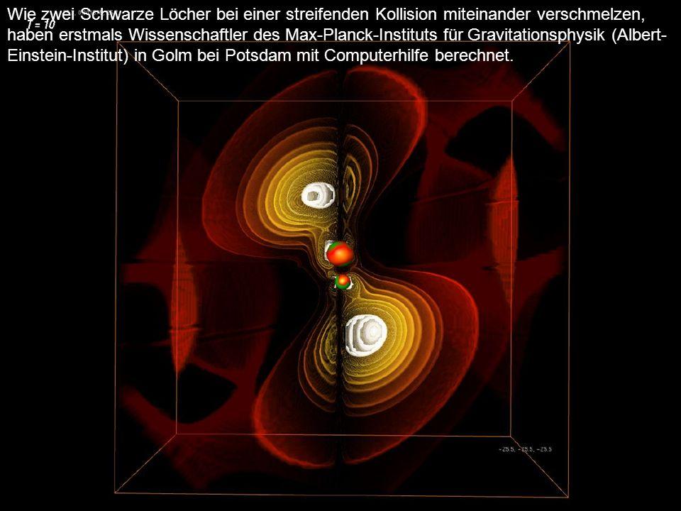 Wie zwei Schwarze Löcher bei einer streifenden Kollision miteinander verschmelzen, haben erstmals Wissenschaftler des Max-Planck-Instituts für Gravitationsphysik (Albert-Einstein-Institut) in Golm bei Potsdam mit Computerhilfe berechnet.