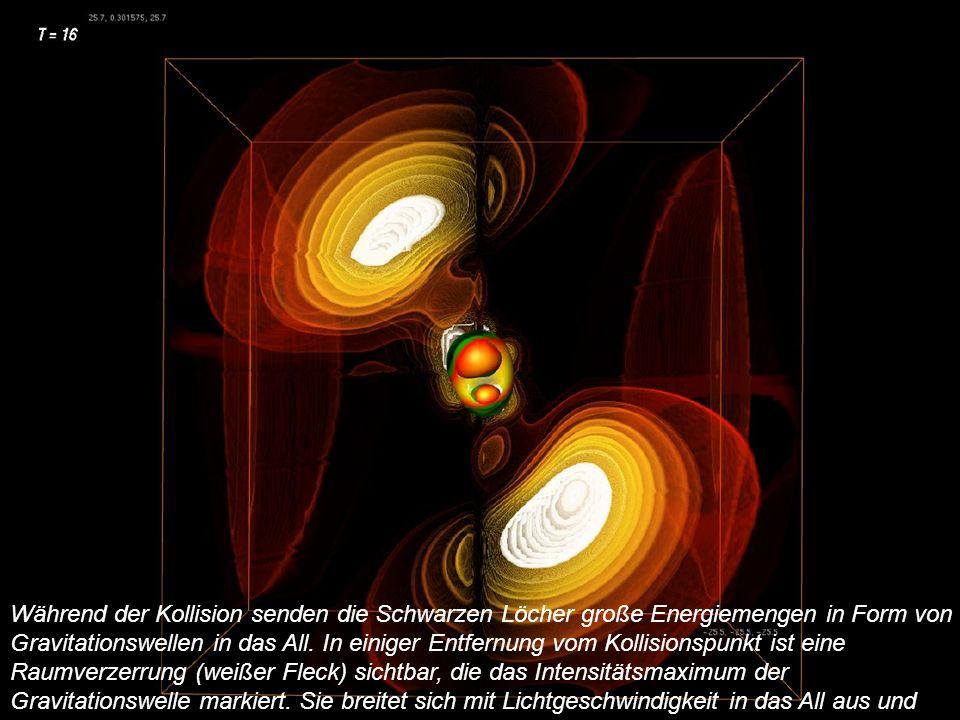 Während der Kollision senden die Schwarzen Löcher große Energiemengen in Form von Gravitationswellen in das All.