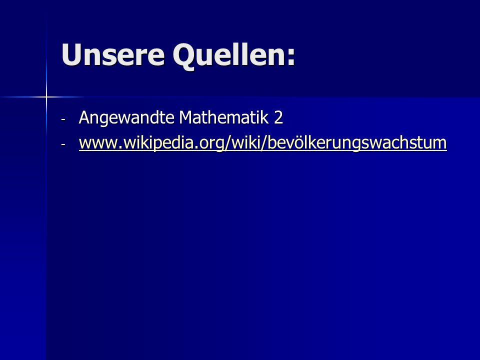 Unsere Quellen: Angewandte Mathematik 2